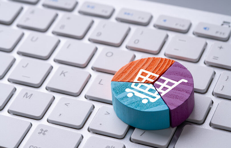 Online shopping icon on colorful pie chart puzzle