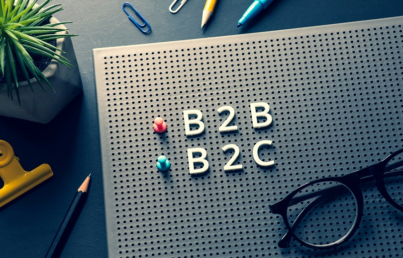 Business marketing with b2b,b2c,c2c text on desk table.management and e-commerce concepts