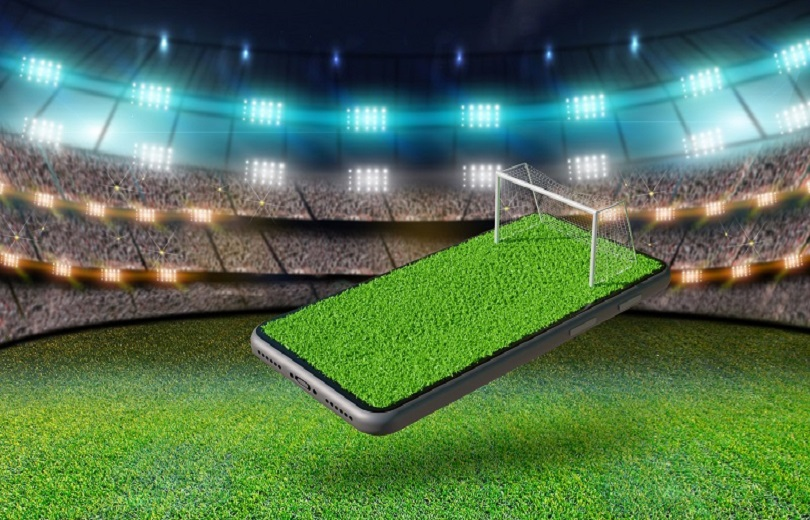 Soccer field on a smartphone screen. soccer online concept, 3d rendering